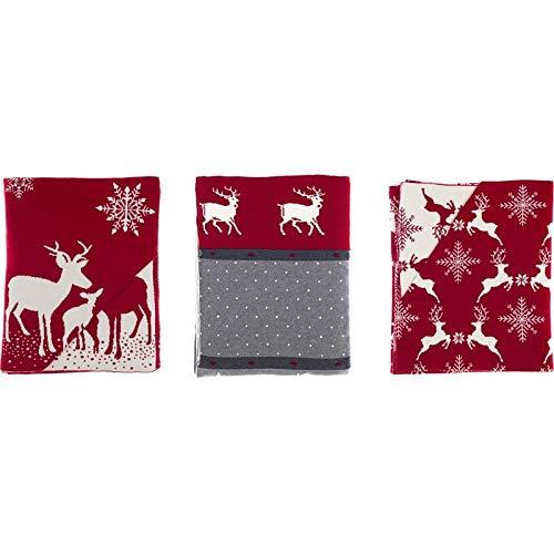 Plaid Natalizio Rosso con Renne, Coperta di Natale 100% Cotone, Pile con decori Natalizi 140 x 170 cm Collezione Blitzen A26325