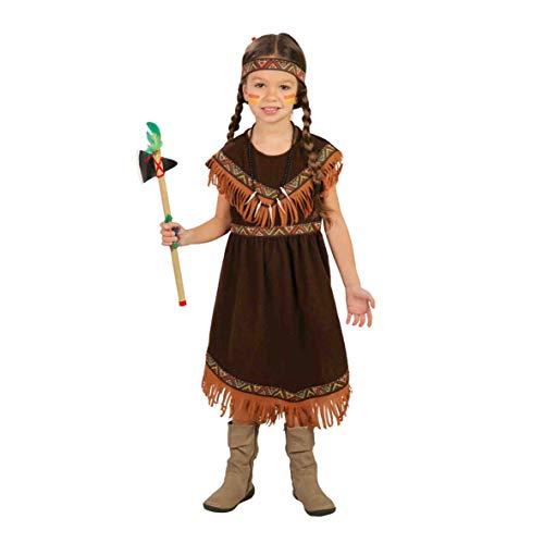 Guirca- Costume da Indiana Pellerossa, Bambina, Colore Marrone, 7-9 Anni (125-135 cm), 82721