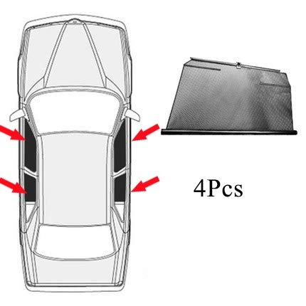 NO LOGO Spezieller Sonnenschutz Seitenscheibe Automatische Hebesonnenschutz Sonnenschutz Isolierung Teleskop Vorhänge FIT for Audi Q5 / L Auto (Farbe : 4 Side Windows)