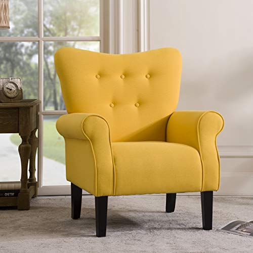 Merax Modern Upholstered Accent Chair Armchair for Bedroom, Living Room or Office, Linen, Including Thick Cushion and Wooden Legs, Yellow