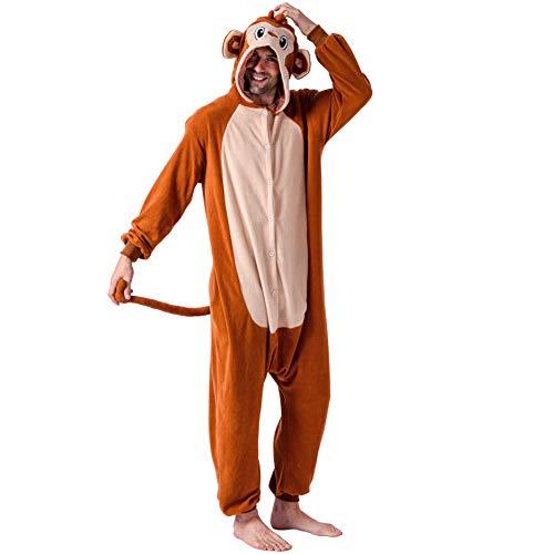 Spooktacular Creations Unisex Erwachsene Pyjama, Plüsch, Einteiler Affenkostüm - Braun - X-Large