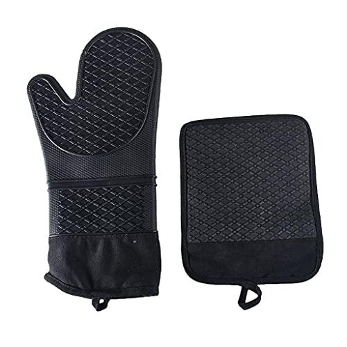 PHILSP Sección larga con algodón arroz punto silicona mano Sets Mat microondas horno mano guantes opcionales cocina Essentials negro