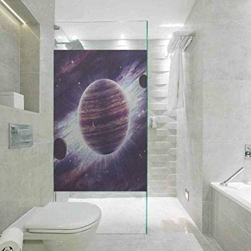 BathroomPrivacyWindowFilmGlassSticker, Galaxy Outer Space Theme Planets Saturn Mars Neptune Science Fict, Home Bathroom Toilet Decorative, 23.6'x35.4'