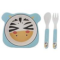 かわいい動物のパターンボウル、便利な子供の食器、子供の赤ちゃんのための遅い熱伝導(zebra, Three-piece suit)