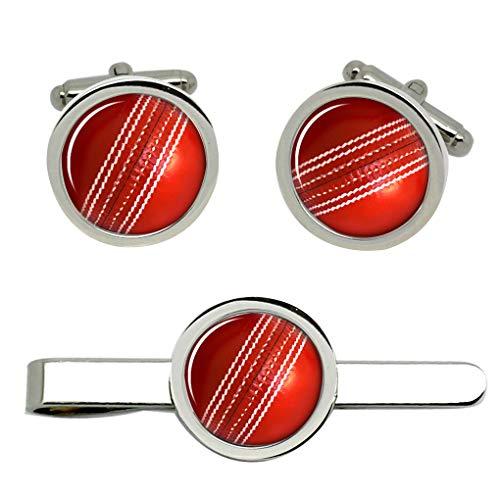 Giftshop UK Cricketball Manschettenknöpfe und Krawatte Clip Set
