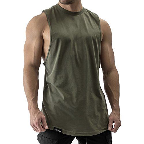 Hyperfusion All Day Cut Off Tank Top Herren Shirt Gym Fitness (S, Olive)