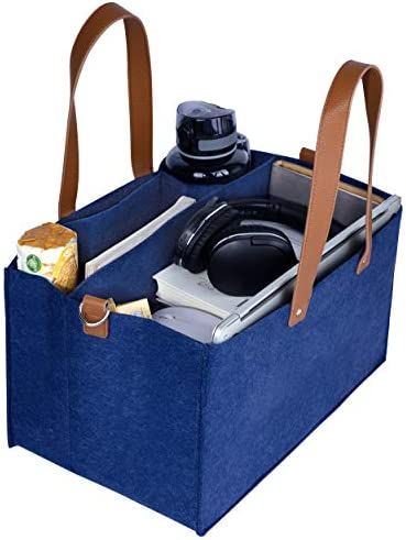 Portable Work Tote Bag Sturdy Navy Blue Storage Caddy Organizer with Handle Home Office Accessories product image