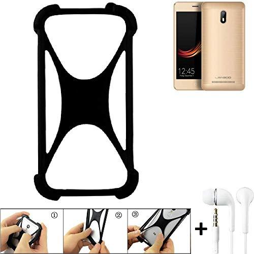 K-S-Trade® Handyhülle Für Leagoo Z6 Schutzhülle Bumper Silikon Schutz Hülle Cover Case Silikoncase Silikonbumper TPU Softcase Smartphone, Schwarz (1x), Headphones