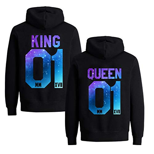 Couples Shop King Queen Pärchen Pullover Hoodie Set für 2 für Paare (Starry Night, King-S + Queen-S)