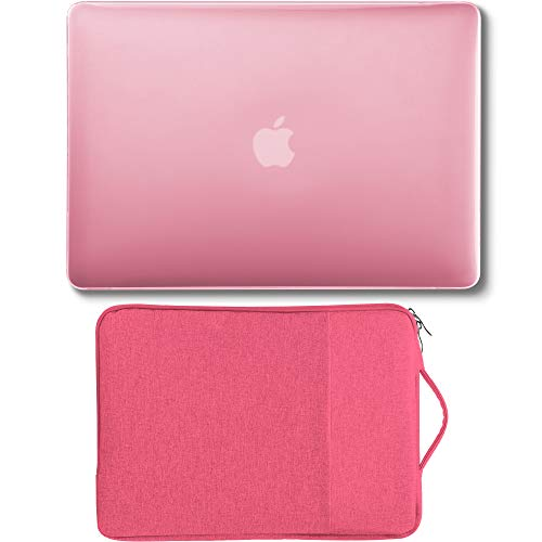 GMYLE MacBook Air 13 inch Case (A1369 A1466, Older Version 2010-2017 Release),2 in 1 Bundle Set Plastic Hard Case & Handle Carrying Sleeve Bag Compatible with Mac Air 13, Pink