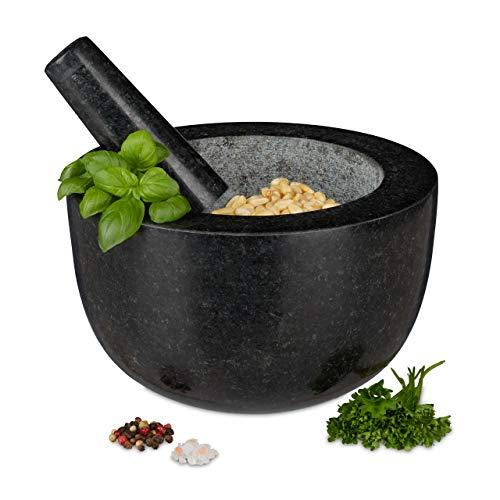 Relaxdays Mörser mit Stößel, Granit, poliert, für Gewürze und Kräuter, 750 ml Volumen, Steinmörser D: 20 cm, dunkelgrau