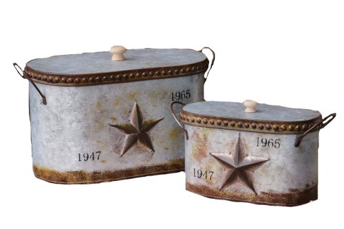 Your Heart's Delight Embossed Star Nested Canisters with Lid Set, 14-1/4 by 8 by 7-1/4-Inch, Set of 2