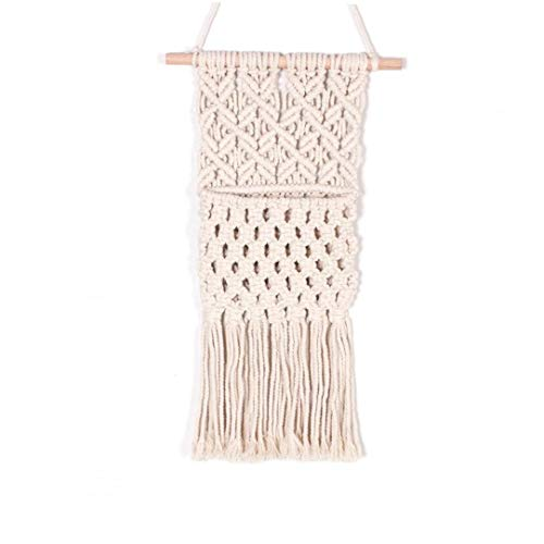 NiceCore Macrame Tapestry Pocket Wall Hanging Magazine Holder Mail Storage Key Organizer Cotton Woven Fringe Decor Decoration for Bedroom