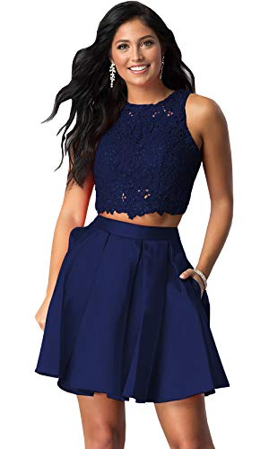 Women's Halter Beaded Homecoming Dress Short Two Piece Satin Lace Formal Gown (Navy Blue,2)