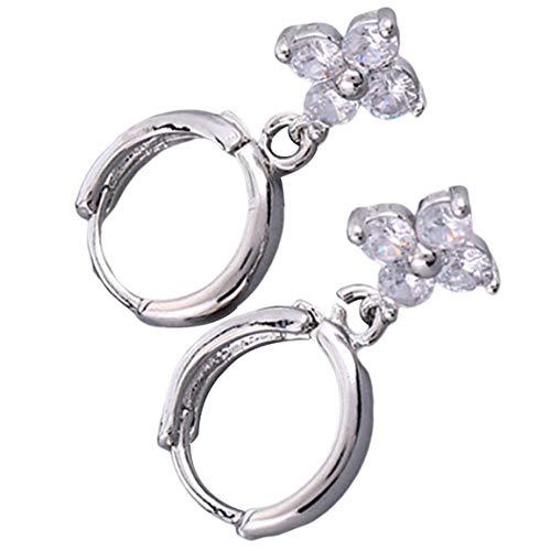 MOHAN88 Trébol Pendientes de circonita con Incrustaciones de Cobre Pendientes de joyería Femenina románticos Accesorios Elegantes - Plata