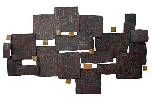 Kunstloft® Extravagante Escultura de Pared de Metal Collage de Piedras 108x71x7.5cm | Decoración XXL Metal Arte | Formas oxidadas Marrón | Cuadro Hecho a Mano Imagen Mural de Arte Moderno