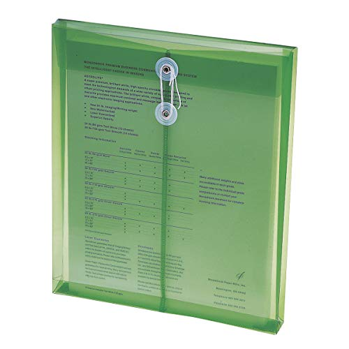 """Smead Poly Envelope, 1-1/4"""" Expansion, String-Tie Closure, Top Load, Letter Size, Green, 5 per Pack (89543)"""