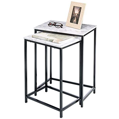 mDesign Set of 2 Nest Tables — Nested End Tables Made of Metal and Wood — Ideal for Use as Living Room Lamp Tables or Bedside Tables — Marble Coloured/Black