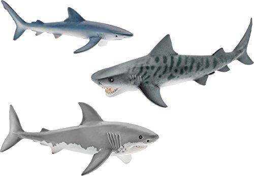 Schleich Shark Set - Tiger Shark Great White Shark and Blue Shark