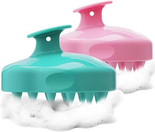 Queta Cepillo de silicona para champú Depurador cabello Peine de masaje para cabello Masajeador de cuero Cabelludo verde + rosa