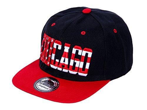 Snapback Basecap Starter Hat Hip Hop Cap Schirmmütze Baseballcap Baseball Mütze Kappe, Farbe wählen:Cap-34 CHI schwarz rot