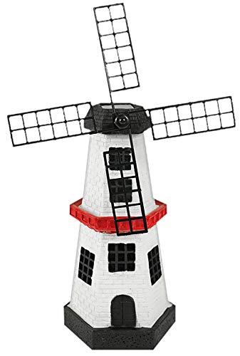 FEEE-ZC Solar-Powered Light-Up Windmill Lighthouse Garden Statue, Multi Color