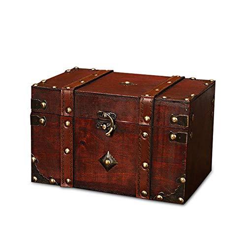 AOLVO Treasure Box Cofanetto Porta Gioielli in Legno Piccolo Pirate Treasure Box Decorativo cassapanca Organizer per Donne