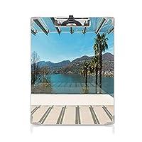 クリップボード 旅行の装飾 ミニバインダー ギリシャのビーチのテーマの装飾トリニ島の休日の写真 用箋挟 クロス貼 A4 短辺とじスカイブルーのターコイズと白