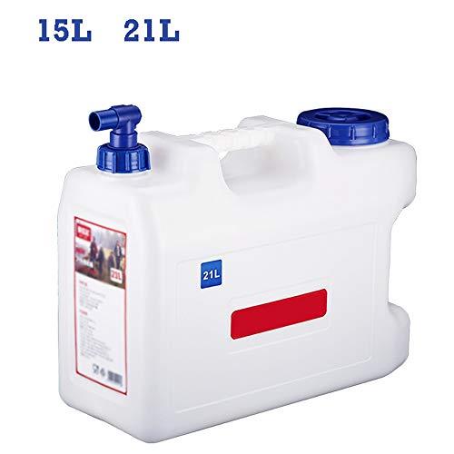Guoda Wasserkanister  PE-Material In Lebensmittelqualität   Mit Wasserhahn   Schlauchabdeckung   Tragbar   Mehrzweck   15L , 21L   Weiß (Size : 15L)