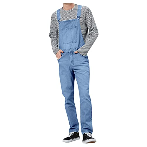 BIBOKAOKE Overall Jumpsuit Herren Denim Latzhose Overalls Jeans Pocket Suspender Pants Hose Wash Berufsbekleidung Classics Denim Feldhose Gerade Overall Arbeitshose mit Knöpfen Taschen