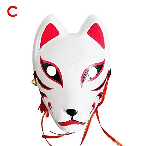 Stronrive Fuchs Japanisch Fuchsmaske Halloween Fuchs Cosplay Maske Maskerade Kabuki Maske für Masquerade Halloween, japanische Kitsune Kabuki