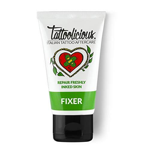 TATTOOLICIOUS Fixer - Crema Lenitiva Dopo - Tattoo, Specifica per la Cura del Tatuaggio, con principi Attivi Bio dalle proprietà cicatrizzanti, 1 tubetto, 75 ml