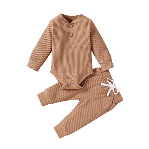Winter Newborn Baby Boy Girl Clothes Set Ribbed Outfits Unisex Infant Solid Cotton Button Long Sleeve Tops Pants 2PCS