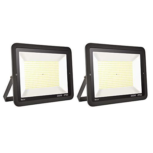 2er 300W LED Strahler Außen Superhell LED Fluter 6000K LED Scheiwerfer IP65 Wasserdicht LED Flutlicht Außenstrahler Außenleuchte für Werkstatt Garage Garten (Kühles Weiß, 300W)