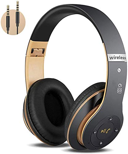 6S Wireless Headphones Over Ear,Hi-Fi Stereo Foldable Wireless Stereo Headsets Earbuds with Built-in Mic,Volume Control, FM for iPhone/Samsung/iPad/PC (Black)