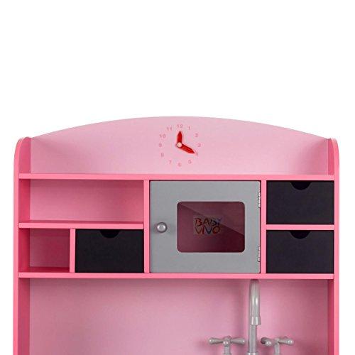 Baby Vivo Kinderküche Spielküche aus Holz Kinderspielküche Küche Holzküche Spielzeugküche mit Tafel - Mila in Rosa - 4