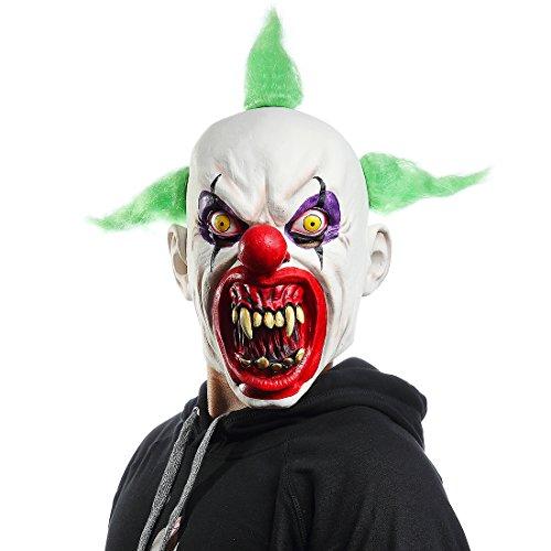 Halloween Horrific Demon Adult Scary Clown Masks Cosplay Props(Green Flame Clown)