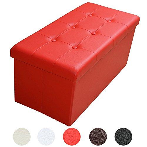 Style home Sitzbank Sitzhocker Aufbewahrungsbox mit Stauraum faltbar belastbar bis 300 kg Kunstleder 76 x 38 x 38 cm (Signalrot)