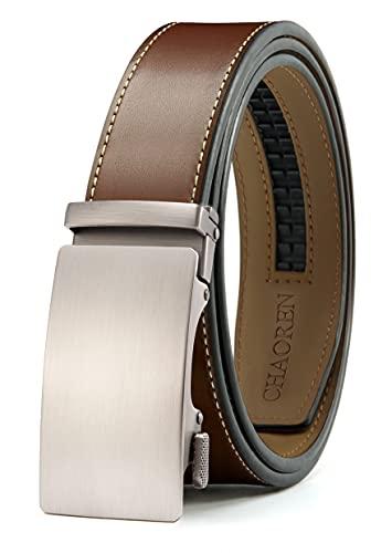 """Mens Belt, Chaoren Ratchet Belt Dress with 1 3/8"""" Genuine Leather, Slide Belt with Easier Adjustable Buckle, Trim to Fit (cognac belt)"""
