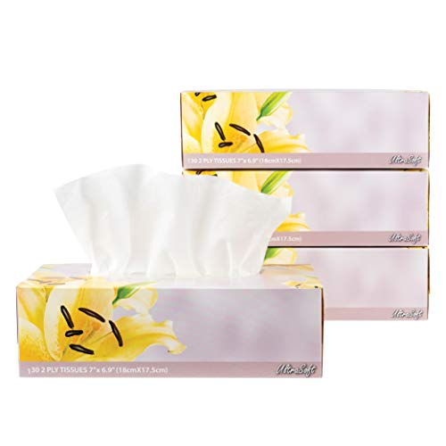 Facial Tissues 130 Per Box Size 7quot X 69quot 2 Ply Great for Bathroom Office Store School Home Kitchen Or in Your Car amp in Every Room Pack of 4 520 Tissues total