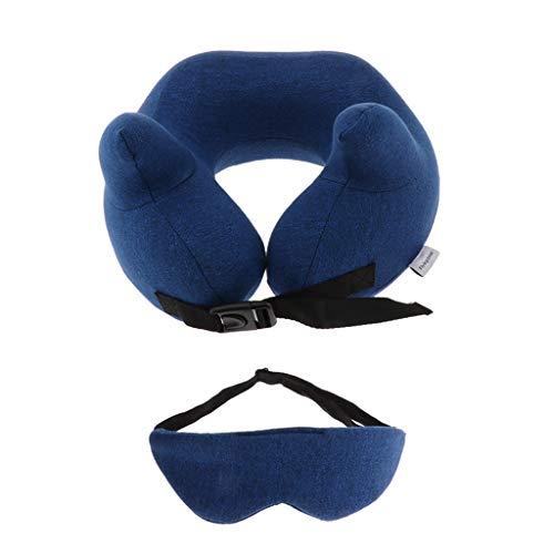 Dailymall Almohada del cuello del viaje de la espuma de la memoria con la máscara del ojo para el resto del coche de la oficina del avión - azul oscuro, 28 x 28 x 11 cm