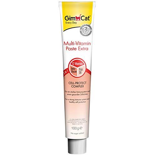 GimCat Multi-Vitamin Paste Extra - Katzensnack mit Beta-Glucan und Omega 3&6 für gesunden Zellschutz - 1 Tube (1 x 100 g)