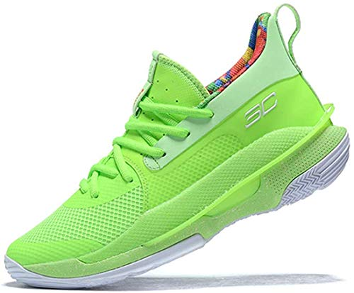 Men's Curry 7 Low Top Lace Up Basketball Shoes Training Shoes Professional Basketball Shoes (Fluorescent Green,7)