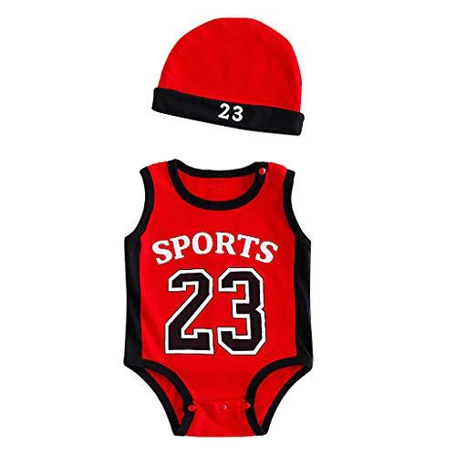 Julhold Body de algodón para bebé de 0 – 2 años con impresión de ejercicio sin mangas rojo 12-18 meses