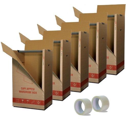 Simba Paper Design srl Kit 10 Scatole Cartone Porta Abiti Capi Appesi cm. 50x60 H 111 con appendino + 2 Nastri Adesivi Omaggio