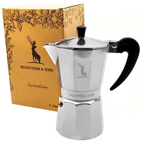 Bergström & Sons Espressokocher Espressokanne aus Aluminium | Camping Kaffeekocher | Moka-Kanne mit einem Fassungsvolumen von 6 Tassen | Inklusive gratis Hanf Bag | Enjoy The Moment