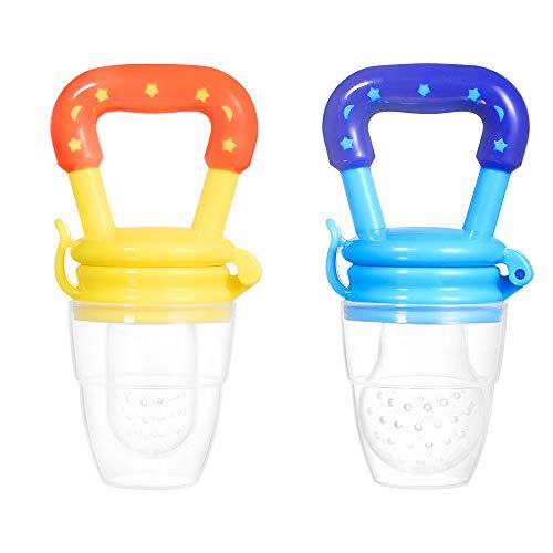 2 Stück Baby Fruchtsauger Schnuller Silikon Schätzchen Beißring mit 3 Größen für Obst Gemüse Frischkost Zahnen (Blau, Gelb)