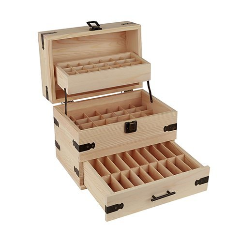 Aroma Designs Wooden Essential Oil Multi-Tray Organizer, Holds 74 Oils