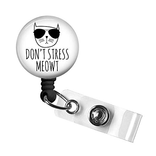 Funny Cat Retractable ID Badge Reel, Swivel Alligator Clip, 34in. Nylon Cord, Medical MD RN Nurse Badge ID, Badge Holder, ID Badge Pull, Office Employee Name Tag