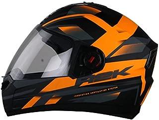 Steelbird R2K Full Face Graphics Helmet in Matt Finish with Plain Visor (Large 600 MM, Matt Black/Orange)